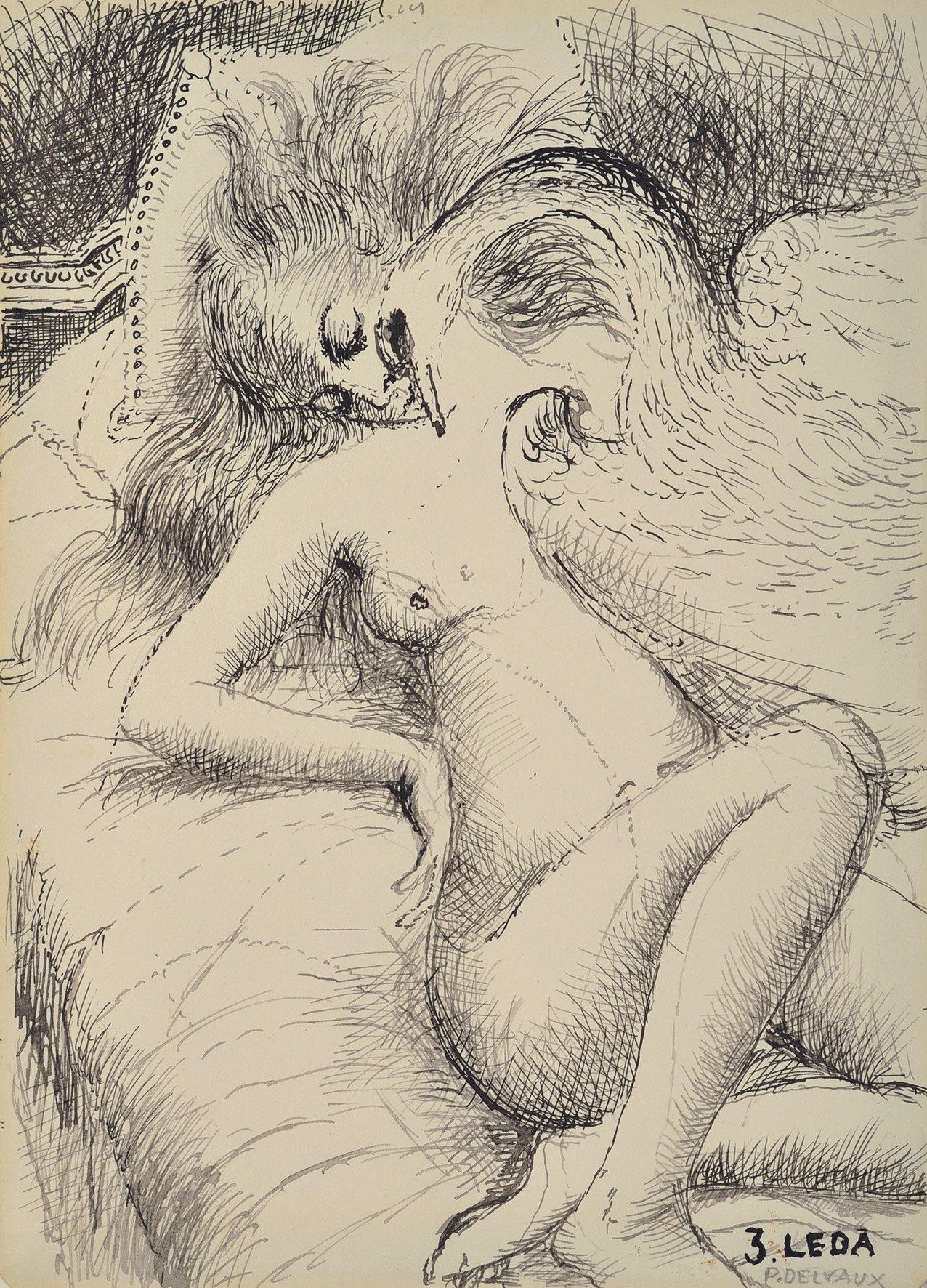 Ets Léda, 1969, Oost-Indische inkt op papier. Illustratie van een gedicht van Eluard. © Foundation Paul Delvaux