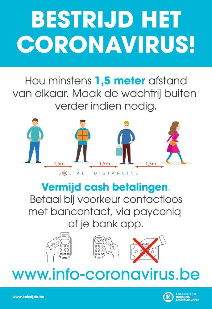 Affiche social distancing voor handelaars