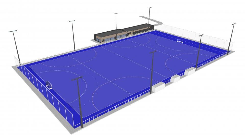 3D-beeld toekomstig hockeyterrein Oostduinkerke